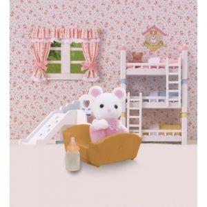 Epoch Sylvanian Families 5069 - Bébé souris blanche