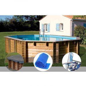 Sunbay Kit piscine bois Vermela 6,72 x 4,72 x 1,46 m + Bâche hiver + Bâche à bulles + Kit d'entretien