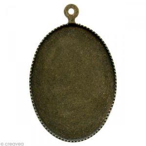 Creavea Support pendentif plateau ovale pour cabochon 22 x 30 mm - bronze