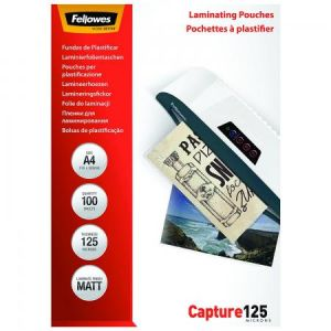 Fellowes 5328502 - Boîte de 100 pochettes Capture125, finition mate, format A4, 2 x 125µ