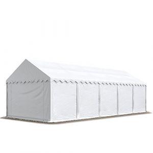 Intent24 Abri / Tente de stockage ECONOMY - 4 x 10 m en blanc - toile PVC 500 g/m² imperméable