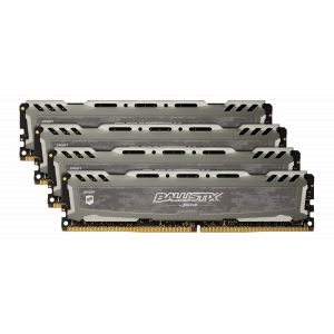 Crucial Sport LT BLS4K16G4D30AESB 64Go Kit (16Go x4) (DDR4, 3000 MT/s, PC4-24000, CL15, Dual Rank x8, DIMM, 288-Pin) Mémoire - Gris
