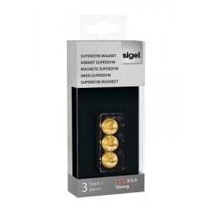 Sigel GL719 - Lot de 3 plots magnétiques Superdym C5 Strong, boule Ø1,3 cm, or