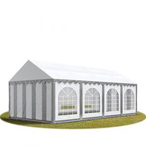 Intent24 TOOLPORT Tente Barnum de Réception 4x8 m PREMIUM Bâches Amovibles PVC 500 g/m² gris-blanc + Cadre de Sol Jardin.FR