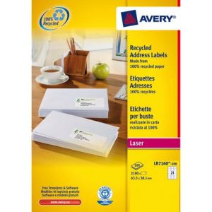 Avery-Zweckform LR7160-100 - Boîte de 2100 étiquettes adresses recyclées laser (3,81 x 6,35 cm)