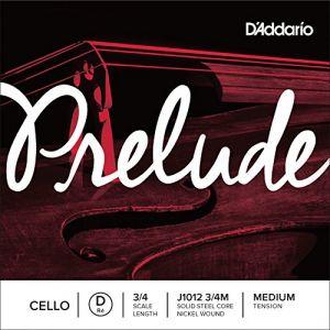 D'Addario Bowed Corde seule (Ré) pour violoncelle Prelude, manche 3/4, tension Medium