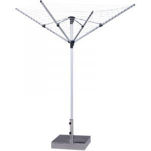 Homcom Séchoir à linge séchoir parapluie étendoir pliable grande surface d'étendage Ø 1,38 x 1,95 m douille fixation incluse alu. argenté noir