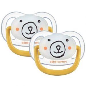 Bébé Confort 2 Sucettes Physio Air Confort Phospho Silicone 6/18 - Phospho - Jaune - Bear