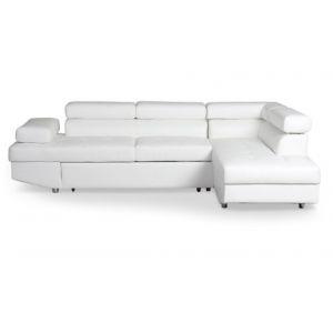 LesTendances Canapé d'angle droit convertible avec têtières relevables simili cuir blanc Lanzo