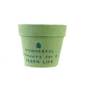 The home deco factory Cache pot en jute plastifié Little Garden - Diam. 9 cm - Vert clair