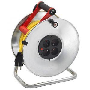 Brennenstuhl Enrouleur silver Brico-500 50m H05VV-F 3G1.5 - Disjoncteur thermique - Puissance maxi : 3500W câble déroulé - 1000W câble non déroulé - Protectionenfants
