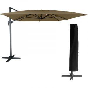 Happy Garden Parasol déporté MOLOKAI rectangulaire 3x4m taupe + housse