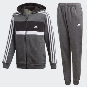 Adidas Originals Survêtement Garçon, Haut Black/White Bas : Dark Grey Heather, FR : M (Taille Fabricant : 128)