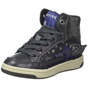 Geox Jr Creamy A, Baskets Hautes Fille, Argent (DK Silver/Violet), 31 EU