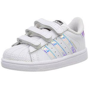 Adidas Superstar CF, Chaussures Marche Mixte Bébé, Blanc (FTWR White/FTWR White/Metallic Silver/SLD), 21 EU