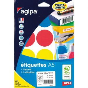 Agipa 101829 - 84 étiquettes coloris assortis multi-usage, diamètre 45 mm (7 feuilles A5 / cdt)