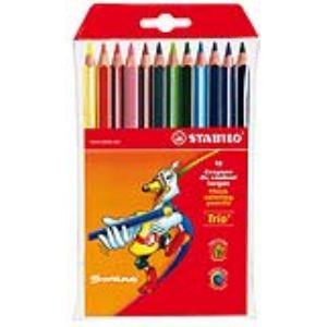 Stabilo 12 Crayons de couleur Trio assortis 17 cm