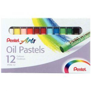 Pentel Etui de 12 pastels à l'huile scolaire, diam. 8 mm, coloris assortis