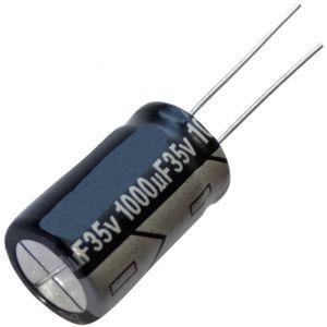 Aerzetix 5x Condensateur chimique LOW ESR 1000µF ±20% 35V THT 105°C 10000h Ø12.5x20mm radial 35m?