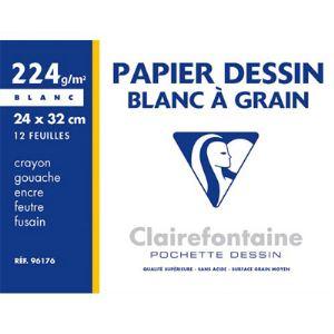 Clairefontaine 96176C - 12 Feuilles de papier dessin 224 g (A4+)