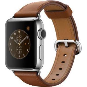 Apple Watch 38 mm séries 2 - Montre connectée Boîtier Acier avec Bracelet Boucle classique Havane