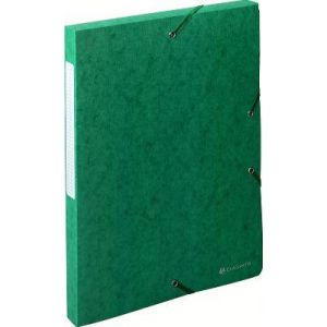 Exacompta 50703E - Boîte à élastique EXABOX SCOTTEN, carte lustrée grainée, dos de 25, coloris vert