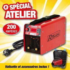 Ribitech Poste souder inverter tech200 200 amperes complet en malette
