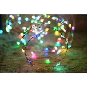 Blachère illumination Guirlande micro-LED - 7,5 m - Rouge, vert et bleu - 150 LED - 16 fonctions mémoire - Câble argent transparent