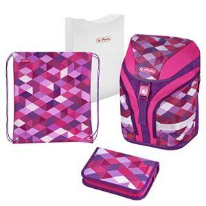 Herlitz Motion Plus Cartable d'école Primaire, Pink Cubes
