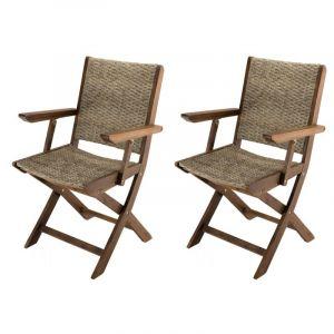 Lot de 2 fauteuils de jardin pliants Acacia et rotin synt tique Honolulu