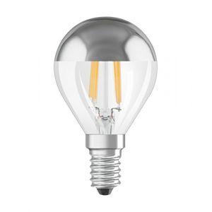Osram 4058075810433 - Ampoule LED Filament Sphérique Calotte Argentée - 4W Equivalent 34W - Culot E14 - Blanc chaud 2700k - Lot de 6