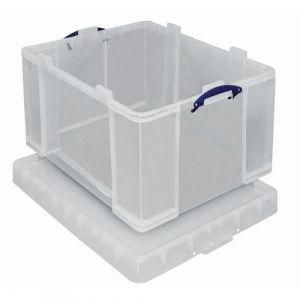 Really useful box Bac de rangement plastique +, couvercle 145L, transparent