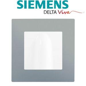 Siemens Sortie de cable Blanc Delta Viva + Plaque Silver