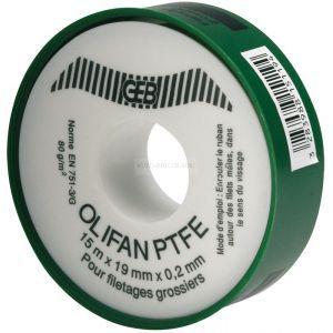 Geb OLIFAN PTFE ruban épaisseur supérieure. spécial gros diamètres 25mmx15mx0.2mm cache vert réf 815125