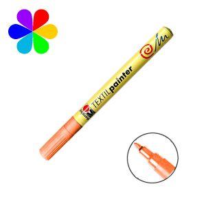 Marabu 011603013 - Marqueur pour tissu Textil Painter, orange, pointe ogive 1-2 mm