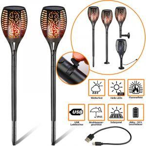 Monzana Lampes extérieur solaires Led avec USB effet flamme lampes solaires Jardin Extérieur