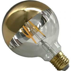 Silamp Ampoule E27 LED Filament Dimmable 8W G125 Globe Reflect Vintage CLAIR Top Or - couleur eclairage : Blanc Chaud 2300K - 3500K