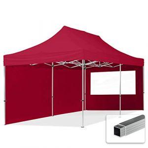 Intent24 TOOLPORT Tente Pliante 3x6 m - 2 côtés Aluminium Barnum Chapiteau Pliant Tonnelle Stand Paddock Réception Abri PES300 Rouge