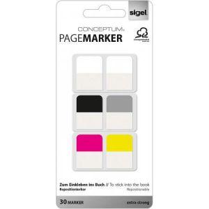 Sigel CO100 - Marque-pages Conceptum® 20x26 mm, 30 feuilles, coloris assortis