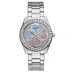 Guess Montre G TWIST W1201L1 - Montre Acier Cadran Rose et Bleu Pailleté Femme