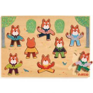 Djeco Encastrement 8 pièces en bois : Puzzle Foxymatch