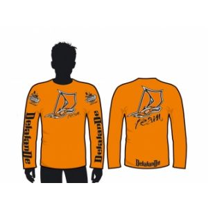 Delalande TEE SHIRT MANCHES LONGUES HOMME - ORANGE Taille S