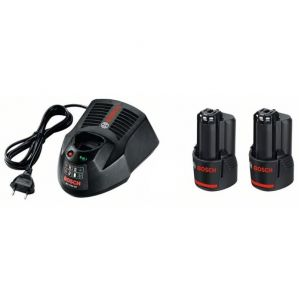 Bosch Pack 2 Batteries GBA 10,8V - 2,0Ah + Chargeur AL 1130 CV