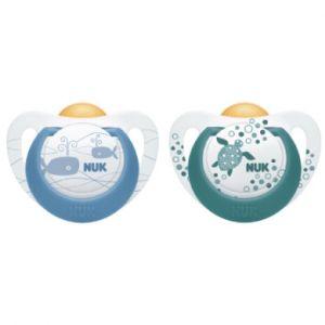 Nuk Dummy Genius Color Blue / Green Size 2 Latex 2 pièces à partir du 6ème mois multicolore
