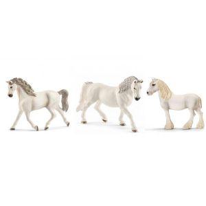 Schleich Figurines de chevaux jument blanch (holstein, lipizzan, shire)