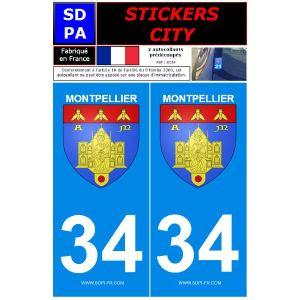 """SDPA SC34 - 2 autocollants pour plaque d'immatriculation """"Montpellier"""""""