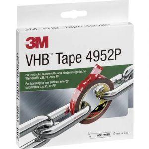 3 M vHB 4952P double face hochleistungsklebeband critiques niederenergetische par exemple le plastique et les matériaux de polyéthylÃ..ne ou de polypropylÃ..ne, 19 mm x 3 m - 4952193 blanc