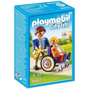 Playmobil 6663 City Life - Enfant avec fauteuil roulant et papa