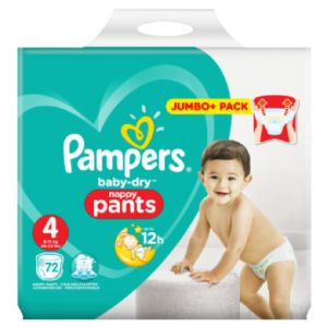Pampers Baby Dry Pants - Couches-culottes Taille 4 (9-15 kg) - Jumbo+ Pack (x72 culottes)