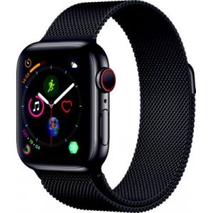 Apple Montre connectée Watch 40MM Acier Noir/Noir Mil Series 4 Cel